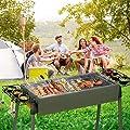 Uten Holzkohlegrill BBQ Faltbare Grill Edelstahl Picknickgrill mit Rostfreier Stahl BBQ Drahtgeflecht Klappgrill für Outdoor Garten Camping Party Beach Barbecue Grün