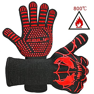 EZILIF Grillhandschuhe Hitzebeständig bis zu 800? / 1472? Ofenhandschuhe EN 407 Zertifizierte BBQ Handschuhe mit Silikon Rutschfeste Kaminhandschuhe für Grill, Kochen, Backen(1 Paar)-33 cm