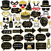 Konsait Birthday Photo Booth Props, Happy Birthday Party Props DIY Kit Mustache Glasses Mask on Stick Fun Birthday Game Gift for kids Adults Birthday Party Decorations Favors Supplies (49pcs)