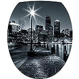 Art déco Stickers - Stickers WC, stickers abattant de WC New York noir et blanc - 2171