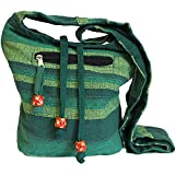 Nepal Sling Bag with side Pocket Hippy Boho Festival Shoulder Bag 100% Cotton (Forest Green)