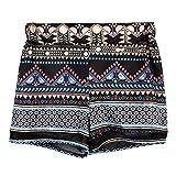 URSING_Damen Sexy Böhmen Drucken Bikinihose/Vintage Retro Niedrige Taille Schwimmshorts/Ethnischen Stil Badehose Badeshorts/Sommer Beach Shorts Hotpants/Mode Strandshorts Bademode (L, Schwarz)