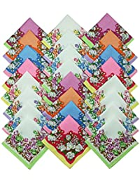 HOMEGOODS Cotton Essentials - Women Floral Print 100% Cotton Handkerchiefs Pack of 24 Pieces (Medium Size 30cms X 30cms)