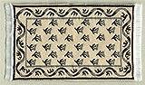 Miniatur Teppich, reines Polyester für Krippe, Puppenhaus, beige, grau/schwarz.