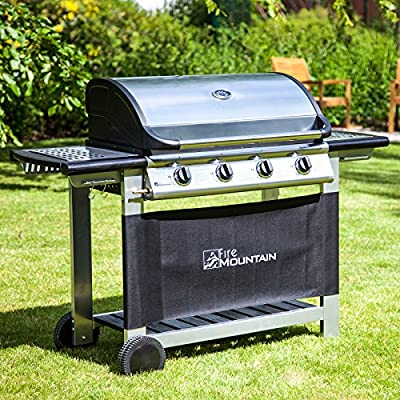 Fire Mountain Everest 4 Burner Gas Barbecue - Stainless Steel, Cast Iron Burners, Grill & Griddle with Free Propane Regulator & Hose by Fire Mountain