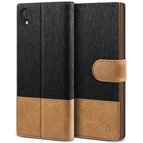 BEZ Hülle für Sony Xperia XA1 Hülle, Handyhülle Kompatibel für Sony Xperia XA1, Handytasche Schutzhülle Tasche Case [Stoff und PU Leder] mit Kreditkartenhaltern, Schwarz