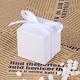 AONER 100 STK. weiß Gastgeschenk Box inkl. Seidenbänder 5x5x5 cm Geschenkbox für Hochzeit, Taufe, Party usw. Pralinenschachtel süßigkeiten Bonboniere (Weiß) - 3