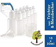 ProfessionalTree 10 Tropfflaschen mit Trichter, Messerber und 10 Etiketten - Leere Quetschflasche zur Dosierung und Aufbewah