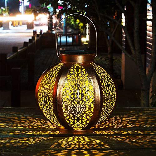 Lumières LED solaires de jardin décoration étanche Luminaire solaire extérieur patio décoratif en métal Lampe de Patio pour Pelouse/Jardin/Patio/Fête/Décorations de Noël/anniversaire