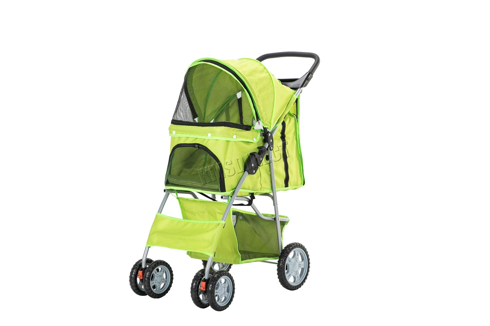 KMS FoxHunter New Dog Pram | Pet Dog Cat Animal Stroller | Dog Buggy For Traveling | Travel Vet Stroller Disabled Dog Pushchair | 2 Front Swivel Wheels & Rear Brake Green | UK Seller