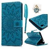 Sony Xperia XA Ultra Coque Bookstyle Étui Magnifiquement Conçu Housse Imprimé en PU Cuir Case à rabat Coque de protection Portefeuille TPU Silicone Case pour Sony Xperia XA Ultra - Bleu