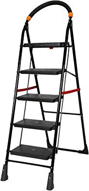 Happer Premium Foldable Step Ladder, Clamber, 5 Steps (Black & Orange)