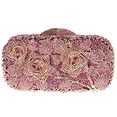 Bonjanvye Glitter Floral Clutch Purse for Girls Crystal Rhinestone Handbag