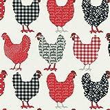 Baumwollstoff | Hühner Modenschau Stoff - Rot,