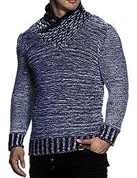 Tazzio 3978 - Jersey de punto grueso para hombre, con elegante cuello bufanda