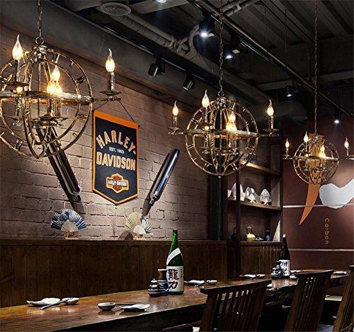 BZJBOY Kronleuchter Vintage Industrial Anhänger Deckenleuchte Steampunk Retro LOFT Kreative Bronze Schmiedeeisen Kronleuchter Bar Restaurant Cafe Dekoration Beleuchtung -