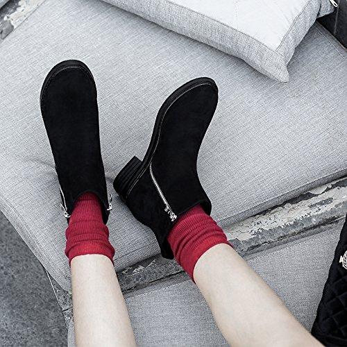 Khskx-in Automne et en hiver la version coréenne du Nouvel Bottes le talon Fermeture Éclair latérale Bottes la femelle Bottes courtes Bottes et le Strict noir