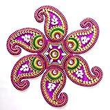 Curiocity Handicraft Designer Rangoli ,12 Inch Dia - 7 Piece Set - Packed In Crystal Box