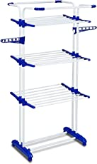 Saimani 3 Poll 3 Layer Clothes Hanger Drying Rack Portable Garment Cloth Dryer Stand (Lifetime Warranty*Made in India) (Blue, Orange) Color as per Availability