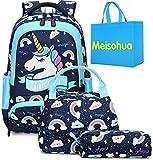 Unicorno Zaino Scuola Elementare Impermeabile Zaini Bambino Sacchetti di Scuola Per Ragazze leggero campeggio borse casual Daypacks per adolescenti studenti 3 pezzi (Blu)