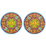 DollsofIndia Pair Of Rangoli Stickers With Paisley Design - Dia - 9 Inches Each (RW94)