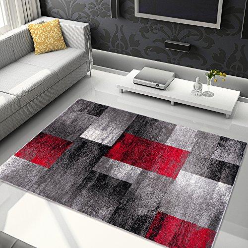 TAPISO® JAWA Teppich Kurzflor | Meliert Teppiche in Grau Schwarz Rot Bunt Mehrfarbig mit Abstrakt Karo Diamant Viereck Muster | Perfekt für Wohnzimmer, Gästezimmer | ÖKOTEX 200 x 290 cm