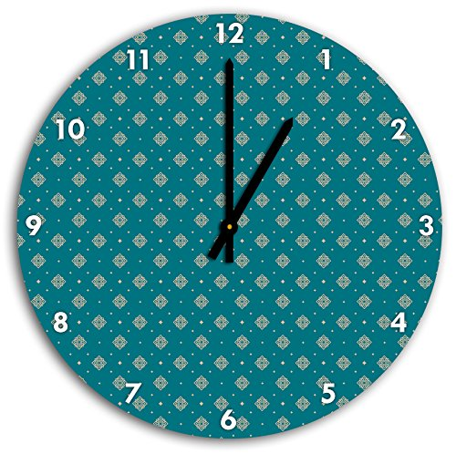 Motif blanc Fleurs Turquoise, horloge murale diamètre 30 cm avec aiguilles et cadran pointus noirs, article décoratif, horloge design, composite alu très belle pour le séjour, la chambre d'enfant, le bureau