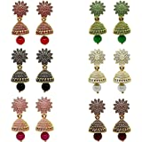 Metal Gold Plated Earrings For Women, Assorted (Pack of 6)