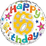 "Cards Galore Online Round 18"" 6th Birthday Foil Helium Balloon (Not Inflated) - Age 6 Unisex Stars"