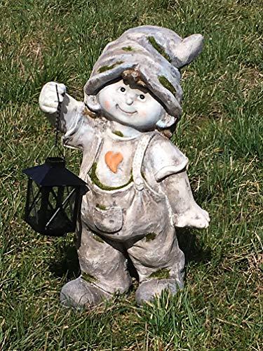 Unbekannt Gartenfigur Junge mit Laterne - Teelichthalter, Lampe, Licht