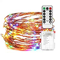 AndThere LED String Lights Battery Powered Fairy Light Multi Color String Bottle Lights with Remote 50 LED Indoor Decorative Coper Wire Lights for Bedroom Patio Outdoor Garden Christmas Tree 16ft/5m 5