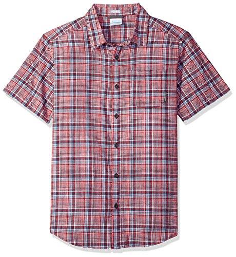 Columbia Men's Under Exposure Yarn Dye Short Sleeve Shirt, Red Spark Plaid, X-Large - Dye Plaid Shirt