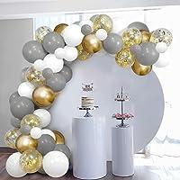 SKYIOL Arche Ballon Or Blanc Gris Helium Kit Ballon Guirlande avec 100 Confettis Métalliques Latex Ballons 5m Arche…