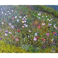 'Papaveri giardino' – piccolo fiore pittura, acrilico, 30 x 25 cm, originale opera d'arte, giardino dipinto.