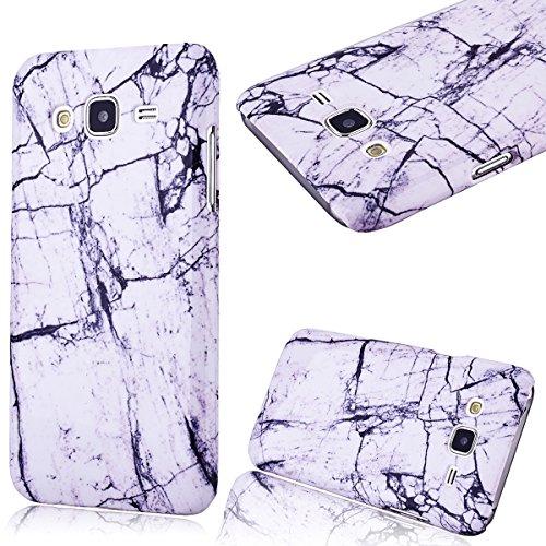GrandEver Hard Case per Samsung Galaxy J5(2015), Design Marmo Modello Rigida PC Caso Custodia, Ultra Sottile Dura Protettiva Anti-urto Durable Cover - Marble Nero con Bianco Case