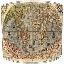 Premier Lampshades–Lámpara de techo–Mapa del Mundo de tonos, metal papel, Blanco, 30,5 cm