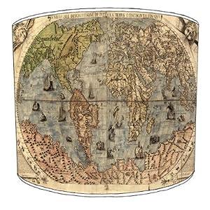 Premier Lampshades–Techo Vintage Mapa del Mundo Drum lámpara Tonos