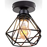 TOKIUS Plafonnier Industriel Vintage Luminaire E27 Rétro Lustre Suspension Design Métal Cage Ø160mm éclairage plafond Pour Sa