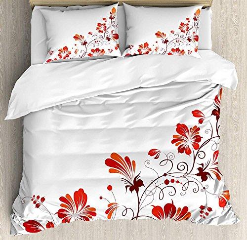 Chinesisches 3-teiliges Bettwäscheset Bettbezug-Set, traditionelles chinesisches Reinheitssymbol, Blüten mit gebogener Spitze, wie Zweig und Blätter, 3-tlg. Tröster- / Qulitbezug-Set mit 2 Kissenbezü -