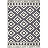 Designer Velours Teppich Ethno Grau Creme | 102410, Größe:160x230