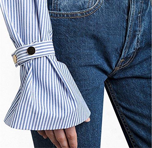 Façon Boutonnée Boutonné Boutons Sur Le Devant Rayé Rayée à Rayures Manches Longues Manches Cloche Larges Blouse Chemisier Shirt Chemise Haut Top Bleu Bleu