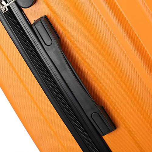 2045 Reisekoffer Koffer Trolley Hartschale XL-L-M in 12 Farben (Orangen, XL) - 4