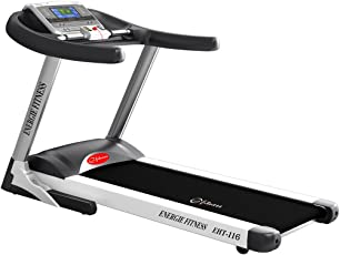 Energie Fitness Semi Commercial EHT 116 2.0 HP AC Motorized Treadmill with MP3, USB Input, Speakers, HRC, Healing function and Auto incline
