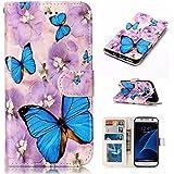 Nancen Samsung Galaxy S7 / SM-G930 (5,1 pouces) coque Haute Qualité PU Cuir Flip Étui Coque de Protection Wallet / Portefeuille Case Cover Housse - Avec Carte de Crédit Fente, Fermeture Magnétique, pour protéger votre téléphone