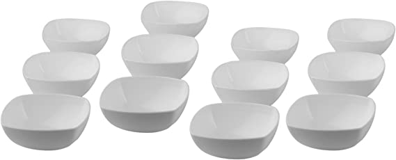 Homray Opulent Microwave Safe & Unbreakable White Square Bowls of 350ml (Set of 12)