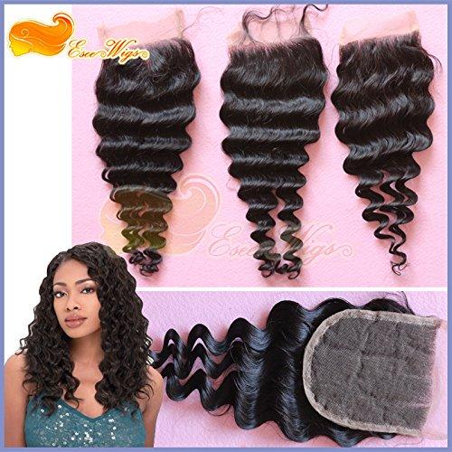 Eseewigs Fermeture cheveux vague profonde Fermeture dentelle Cheveux Cheap postiches pour Top Head Lace Taille 4x4 pouces