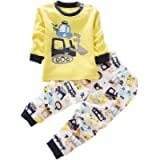 BOBORA Long Sleeves Girls Boys Baby Children Clothing Suits 2 Piece Sleepwear