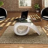 vidaXL Couchtisch Beistelltisch Kaffeetisch mit ovaler Glasplatte Hochglanz Weiß