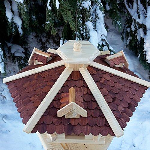 Vogelhaus Vogelhäuser Vogelfutterhaus Vogelhäuschen aus Holz Schreinerarbeit Gaube Braun sehr Groß XXL - 2
