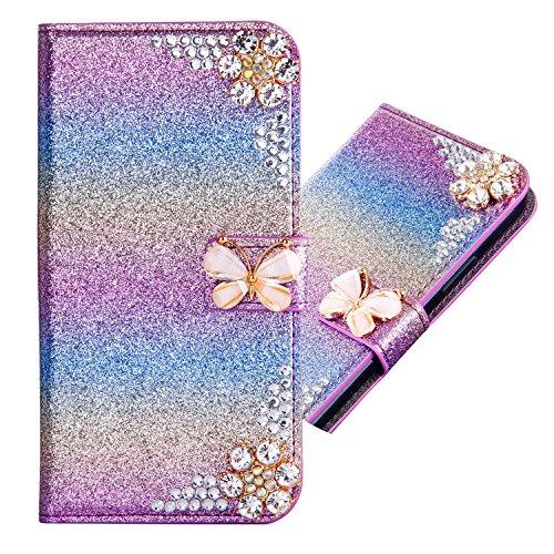 Preisvergleich Produktbild Samsung Galaxy A5 2017 3D Butterfly Sunflower Bling Glitter Glitzer Diamond Musterg Ledertasche Slim Retro Bookstyle mit Standfunktion Karteneinschub Magnetverschluss Flip Wallet Hülle Schutzhülle